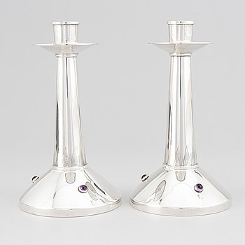 A pair of swedish silver candlesticks, TESI, Göteborg 1957.