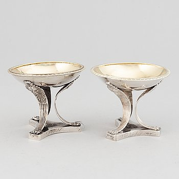A pair of swedish silver salt cellars, mark of Jonas Lindberg, Stockholm 1824.