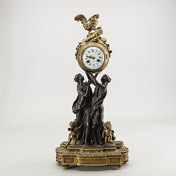 A Louis XVI-style table clock around 1900.