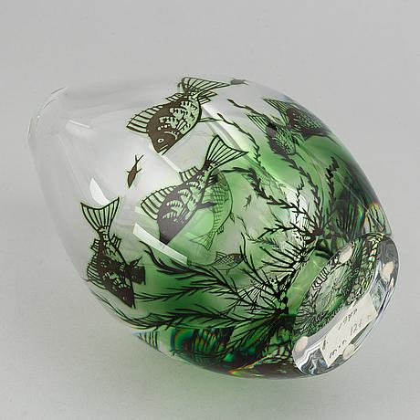 """Edward hald, vase, glass, """"fiskgraal"""", orrefors."""