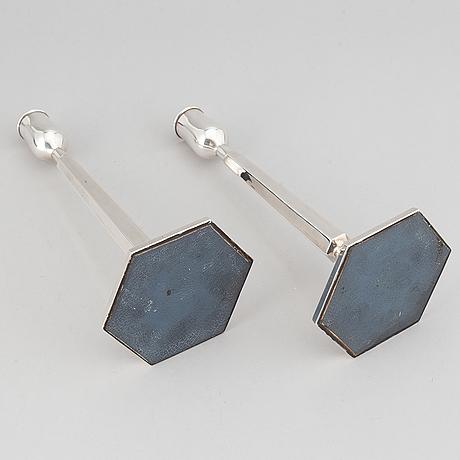 Tore eldh, a pair of silver candlesticks, k&e carlsson, göteborg 1964.