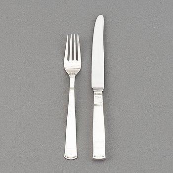 Jacob Ängman, a part silver cutlery, 'Rosenholm', GAB, (24 pieces).