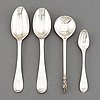 Four silver spoons, 18th/19th century.