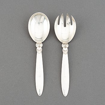 Gundorph Albertus, a pair of 'Cactus' silver serving cutlery, Georg Jensen.