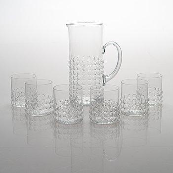 "Nanny Still, A pticher and six drinking glasses ""Grappo"". Riihimäen Lasi OY."