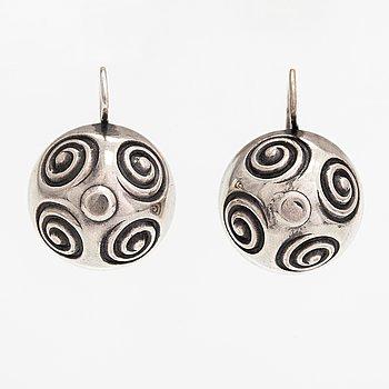 "A pair of stelring silver earrings ""Halikko earrings"", model 213. Kalevala koru, Helsinki."