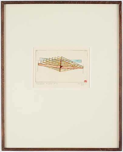 Sten eklund, etching with watercolour, 1969, signed ap 2/6.