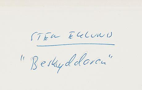 Sten eklund, etching with watercolour, 1984, signed pt.