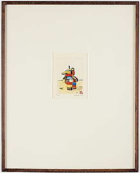 Sten Eklund, etching with watercolour, 1984, signed PT.