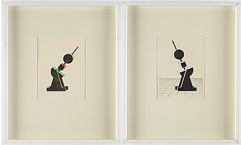 C Göran Karlsson, etchings wirh watercolour, 2, 1979, signed 21/25, 13/25.