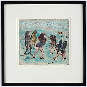Hans Wigert, etching with watercolour, signed.