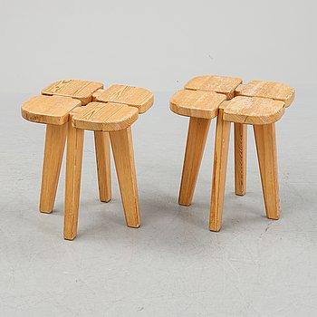 Rauni Peippo, a pair of 'Apila' pine stools, Kervo Snickerifabrik Oy Stockmann Ab.