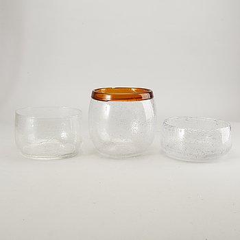 Erik Höglund, three bowls, glass, Boda glassworks, 60s-70s.