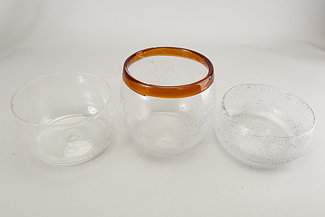 Erik höglund, three bowls, glass, boda glassworks, 60s-70s.