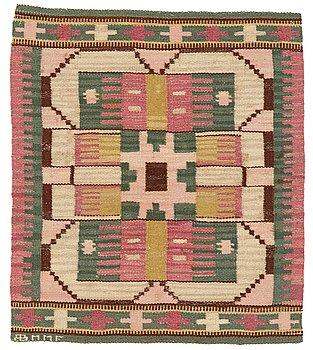 "198. Märta Måås-Fjetterström, a textile, ""Blekingerosa"", flat weave, ca 63-64 x 55-56,5 cm, signed AB MMF."