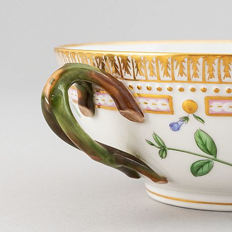 Royal copenhagen, a 'flora danica' porcelain soup cup with saucer.