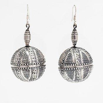 """A pair of silver earrings """"Halikko earrings"""". Kalevala Koru, Helsinki 1965."""