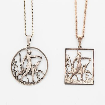 Tore Strindberg, two silver and pewter pendants.