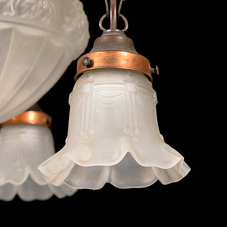 An early 20th-century jugend style pendant ceiling light.