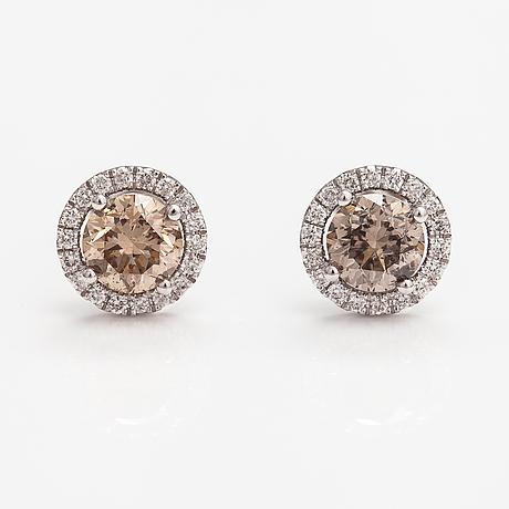 Korvakorupari, 14k valkokultaa, timantteja n. 2.00 ct yht.