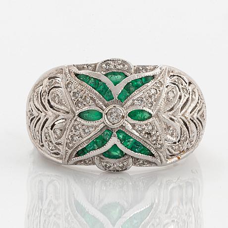 Eight-cut diamond and emerald ring.