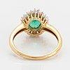 Emerlad, baguette and trapets-cut diamond ring.