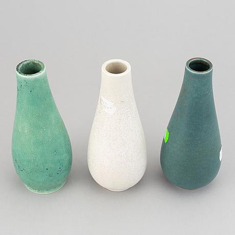 Gunnar nylund, a set of three glazed stoneware vases, rörstrand sweden.