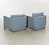Pair of armchairs, artifort, blue leather, 1980s.