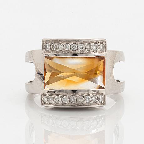 Citrine and brilliant-cut diamond ring.