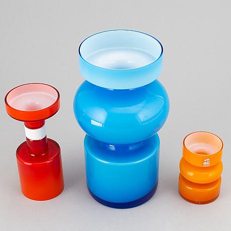 Po ström, a set of three glass vases, alsterfors glassworks, sweden.
