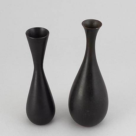 Carl-harry stålhane, two stoneware vases, rörstrand, sweden.