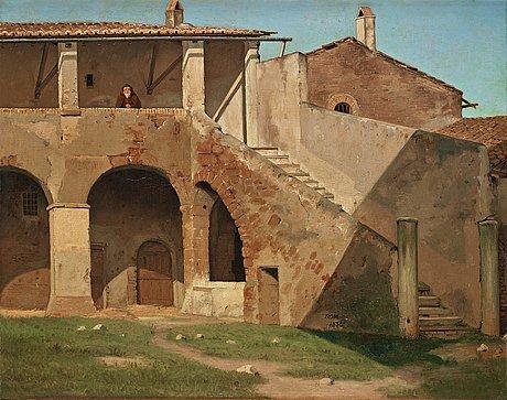 """Martinus rørbye, """"parti af et kapucinerkloster i rom""""."""