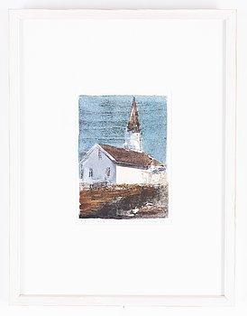 Lars Lerin, wood cut coloured, 1994, signed 5/5.