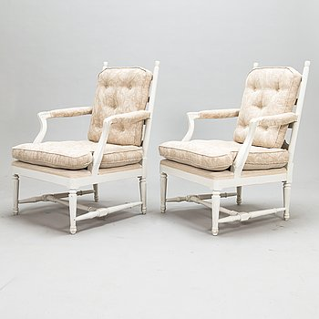 """A pair of so-called """"Gripsholm armchairs"""", early 20th century."""