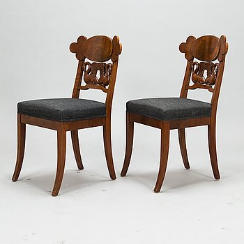 A 1830's pair of Swedish mahogany chairs.