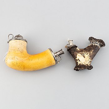 Two pipes, sepiolite, bone, and carved horn with silver mountings.