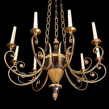 A three-light Empire style chandelier from 1920s.