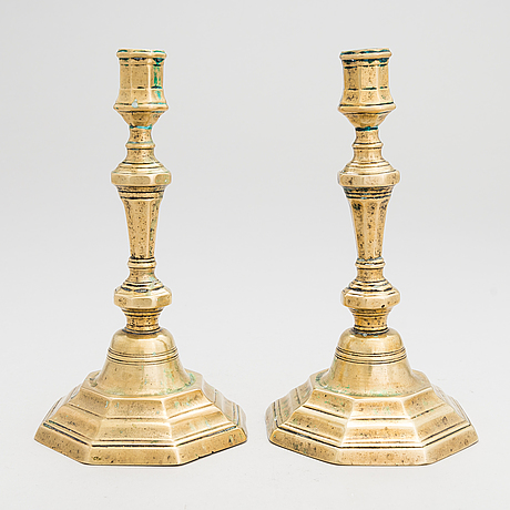 A pair of brass candlesticks, second half of the 18th century.