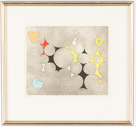Pierre olofsson, etching with gouache, signed x/xx.