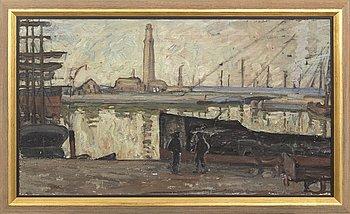 "Ester Almqvist, oil on canvas,  ""Hamnen i Dunkerque"". Not signed."