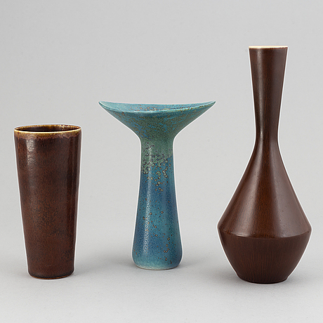 Carl-harry stålhane, three vases, stoneware, rörstrand, sweden.