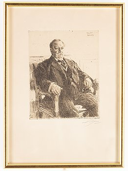"Anders Zorn, etching ""President William H. Taft"", 1911, signed in pencil."