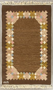 A signed Swedish flatweave carpet ca 207 x 137 cm.