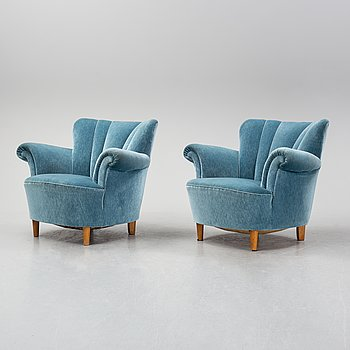 A pair of 1930's-40's easy chairs.