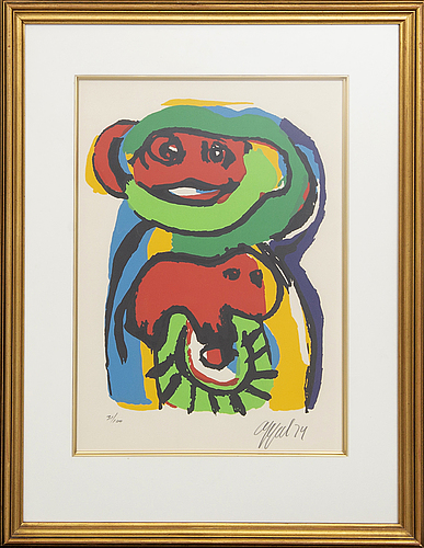 Karel appel, lithograph in colours signed dated and numbered 74 31/100.