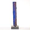 Bertil vallien, a blue sand cast and polished glass sculpture, kosta boda sweden.