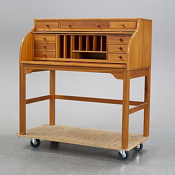 A pine roll top secretary desk by Andreas Hansen, Hadstens, end of the 20th Century.
