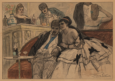 Felicien rops, photogravure, signed in the plate.