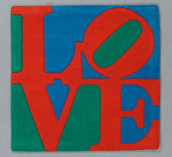 Robert Indiana, a 'Classic Love' rug, numbered 4701/10 000.