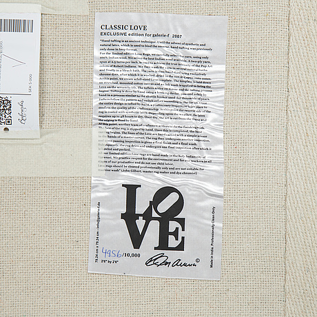 "Robert indiana, matta ""classic love"" numrerad 4956/10.000."